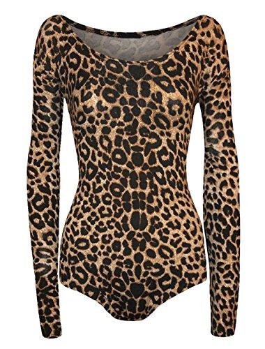 Islander Fashions Mujeres Estampado de Animales de Manga Larga con Cuello Redondo Body Ladies Leotardo el�Stico Top de Leopardo marr�n S/M