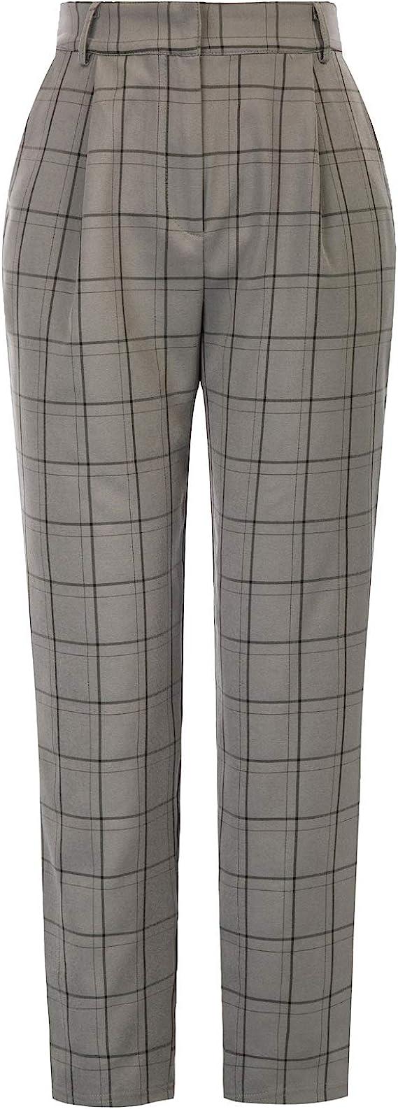 80s Jeans, Pants, Leggings | 90s Jeans GRACE KARIN Womens Ankle Length Pants with Pockets Plaided OL Elastic Waist  AT vintagedancer.com