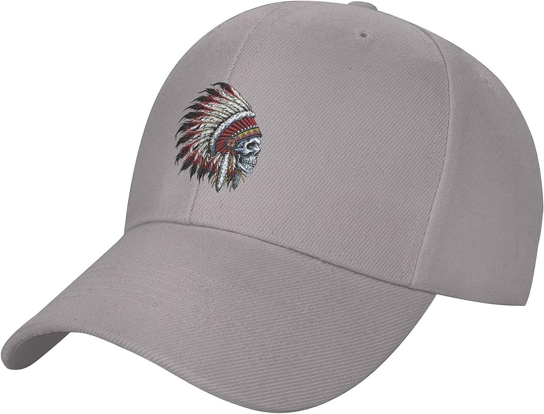 Indian Chief Skull Unisex Baseball Caps Men Comfortable Sports Hat Adjustable Sun Hats Peaked Cap Gray