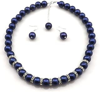 Millennium Design Large Faux Blue Pearl Necklace and Earring Set