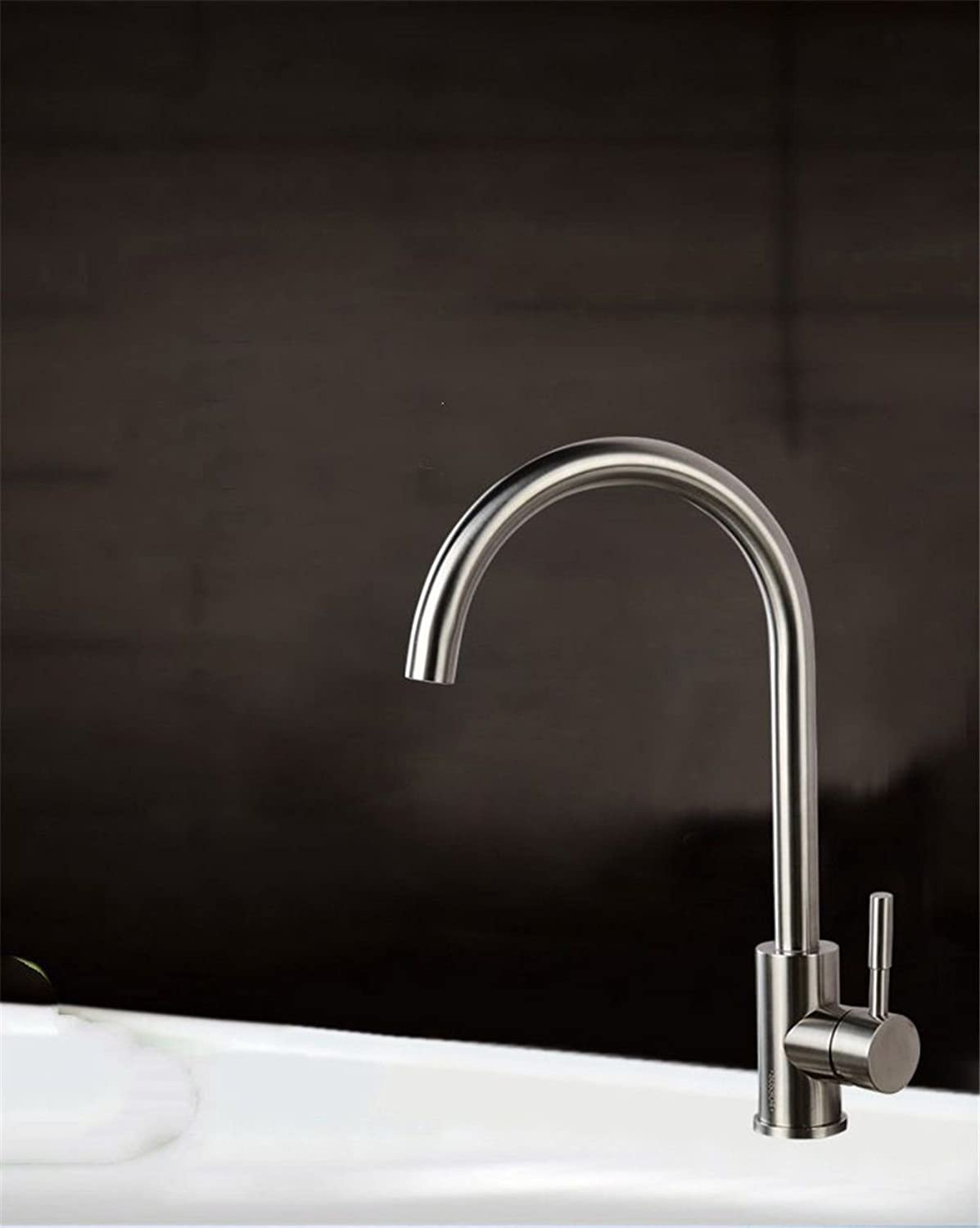 MARCU HOME Sink Mixer Tap Bathroom Kitchen Basin Tap Leakproof Save Water Kitchen Stainless Steel Cold Water Slot Brushed Nozzle