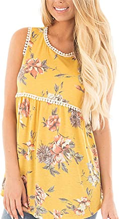 DREAMLOVER Womens Summer Floral Print T-Shirt Sleeveless Casual Blouses Yellow XX-Large