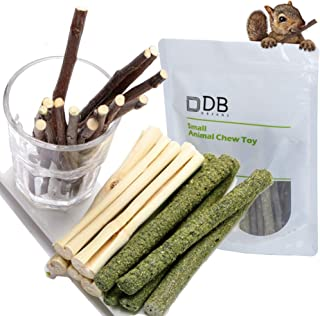 FLOURITHING 3 Types of Combined, Guinea Pig Chew Molar Sticks Toys, All Natural Apple Branch, Timothy Stick, Sweet Bamboo, for Rabbits, Hamster, Bird, Etc.