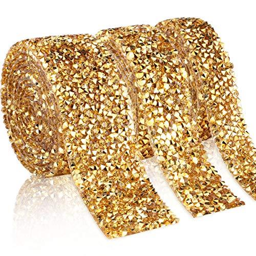 Cinta de Diamantes de Imitación de Cristal de 3 Yardas Rollo de Cintas Brillantes Envolver Cinturón Bandas para Decoración Manualidades Cumpleaños Boda Pastel, 3 Rollos en 3 Tamaños (Oro)