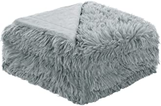 uxcell Solid Faux Fur Throw Blanket 50 inches x 60 inches - Decorative Fuzzy Long Shaggy Blankets Lightweight Long Fur Microfiber Fleece Blanket for Couch and Sofa - Keep Warmth for Years,Gray