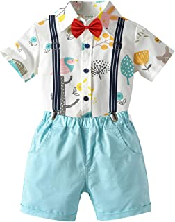 Carlstar Baby Boys Gentleman Outfit Little Boys Formal Short Set Toddler Short Sleeve Shirt+Suspender Pants+Bow Tie 4Pcs