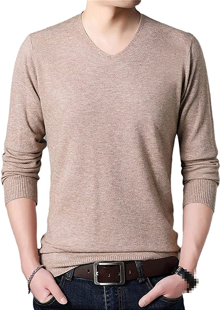 KGFDB Casual Knitted V Neck Sweater Men Pullover Clothing Fashion Knit Solid Mens Sweaters Pullovers Streetwear
