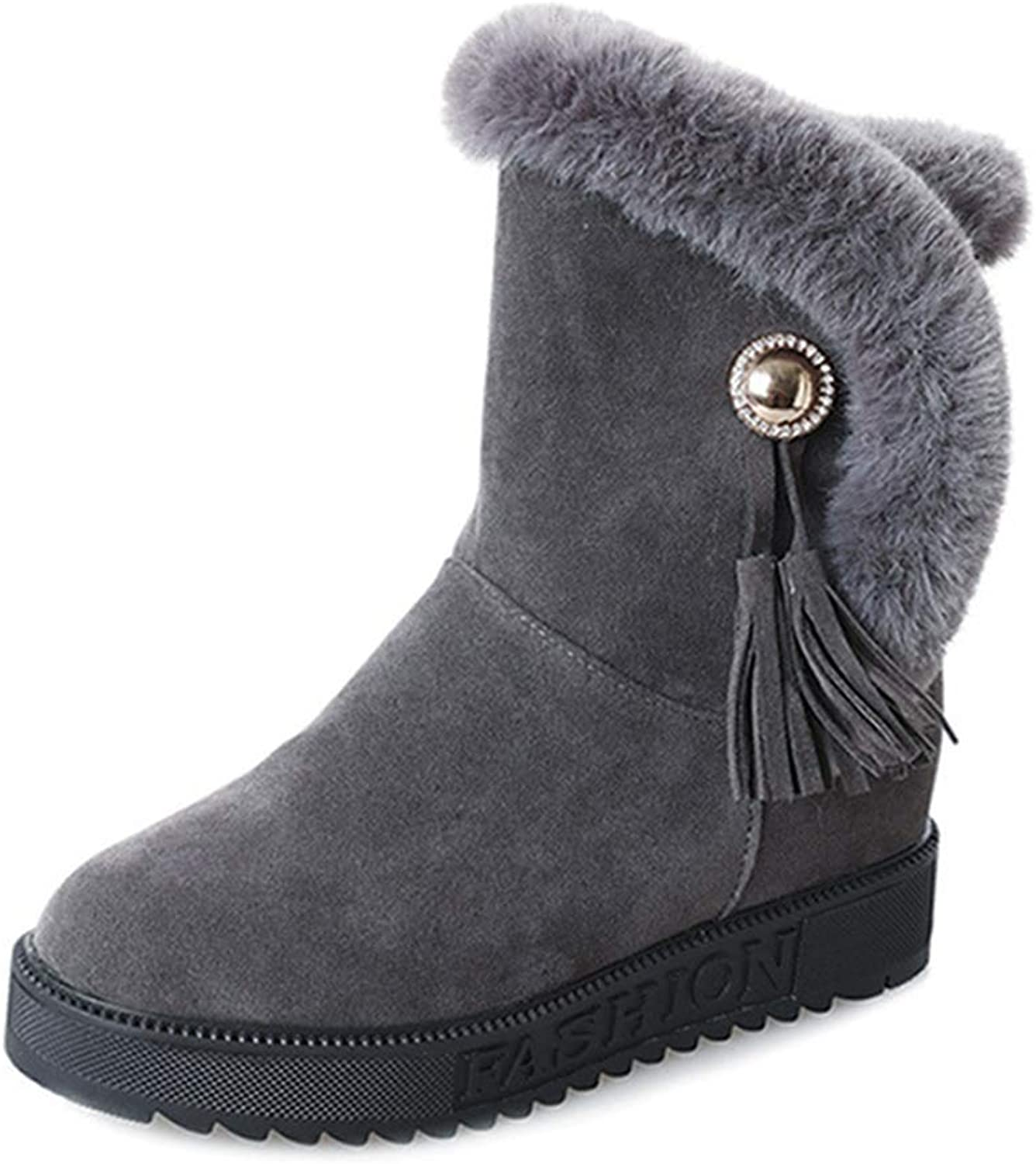 Womens Fringe Warm Mid-Calf Boots Fur Flat Round Toe Slip-on Winter Snow Ankle Booties