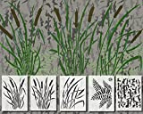 Acid Tactical 5 Pack - 14' Camouflage Airbrush Spray Paint Stencils - Duracoat Gun Duck Boat Camo - Cattails Bark & Fern Set