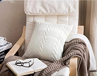 """Knitted Throw Pillow Cover, Soft & Cozy Decorative Cushion Cover Case for 20""""x 20"""" Throw Pillow(Cover Only, White)"""