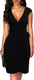 Women's Vintage V-Neck Sheath Casual Party Work Faux...