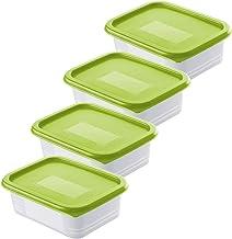 Rotho, Domino, Set van 4 diepvriespotten 0.5l met deksel, Kunststof (PP) BPA-vrij, groen/transparant, 4 x 0,5l (15,7 x 11,...