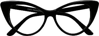 ShadyVEU - Super Cat Eye Vintage Inspired Fashion Mod Clear Lens Sunglasses