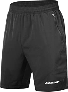 Men's Workout Running Shorts Quick Dry Athletic Performance Shorts Black Liner Zip Pockets