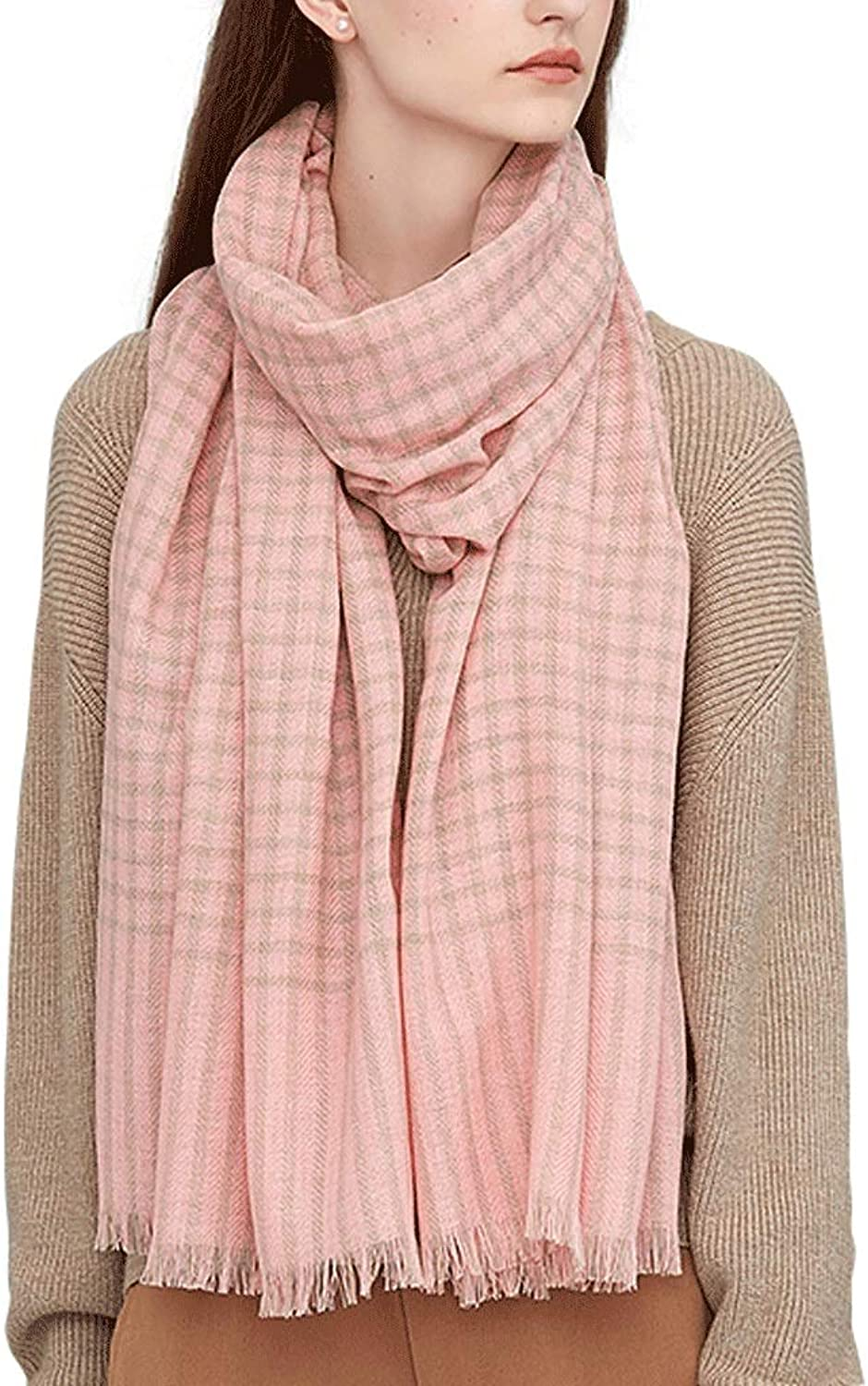 CCF Scarf Shawl Woman Student Lattice Keep Warm Large Size Both Uses 200cm×70cm V (color   Pink)