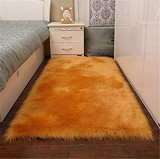 CHITONE Indoor Furry Fluffy Soft Solid Faux Fur Sheepskin Area Rugs Pads,Livingroom Bedroom Nursery Room Floor Rug Carpet for Home Decorate,Gold,2'X3'