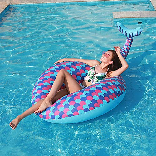 LCSD inflatable pool toys Summer Environmental Protection Pvc Inflatable Mermaid Swimming Ring Fish Tail Adult Floating Row Beach Leisure Seaside Adult Floating Bed 174*114*71cm