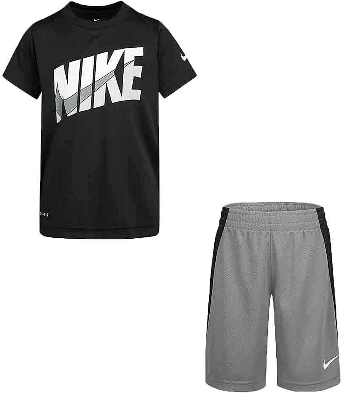 Nike Boy`s Dri-Fit T-Shirt & Shorts 2 Piece Set (SmokeGrey(66G054-M19)/White, 12 Months, 12_Months)
