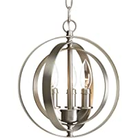 Progress Lighting P5142-126 Transitional Three Light Pendant from Equinox Collection in Pwt, Nckl, B/S, Slvr. Finish, Burnished Silver