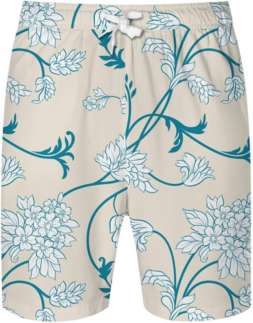 MMCICI Men's Floral Print Elastic Waist Pants Casual Beachwear Hawaiian Shorts