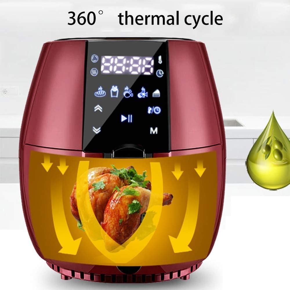 Friteuse à air intelligente, écran tactile numérique à LED, machine à frites multifonction automatique domestique sans fumée, adaptée aux ustensiles de cuisine sains,Noir Red