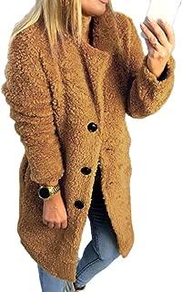 Women Fashion Lapel Button Down Fleece Coat Sherpa Fuzzy Faux Warm Long Sleeve Jacket