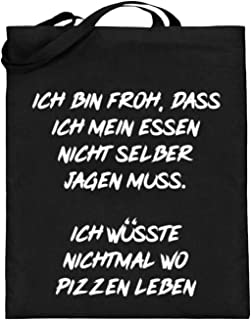Ich Wüsste Nichtmal Wo Pizzen Leben - Divertida frase - Diseño sencillo y divertido - Bolsa de yute (con asas largas)