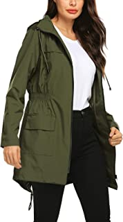Women Raincoat Waterproof Windbreaker Lined Rain Jacket Lightweight Trench Coats S-XXL