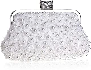 Bag for Women Ladies Banquet Bag Dress Hand Evening Bag Beaded Evening Bag (Color : White, Size : XS)