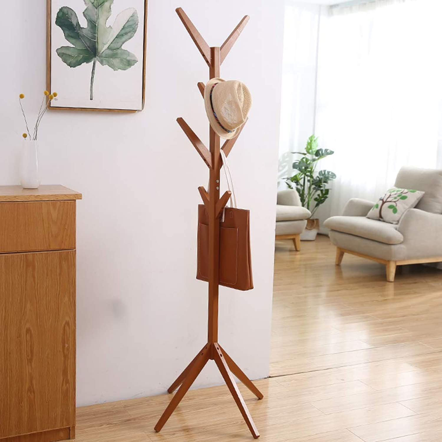 Coat Rack Tree-Shaped Hat Hanger Holder Solid Wood Garment Stand Hooks Wooden Coat hat Rack Stand for Clothes Scarves and Hats-B 45x45x175cm