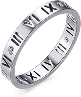 Stainless Steel CZ Roman Numeral Ring for Women Girls,Rose Gold Plated/Silver