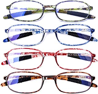 AQWANO 4 Pack Computer Reading Glasses Blue Light Blocking Lightweight TR90 Flexible Frame UV Protection Readers for Women Men +3.0