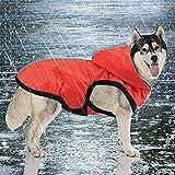 Idepet 2-in-1 giacca impermeabile per cani impermeabile, tuta leggera per animali domestici poncho antipioggia traspirante a copertura totale con cappuccio per cani di taglia media (XL, Rosso)