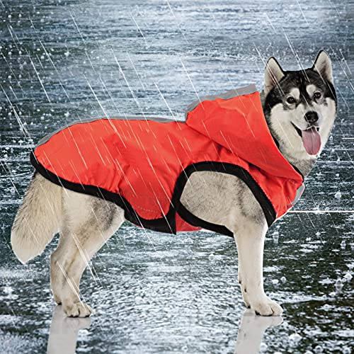 Idepet wasserdichte 2-in-1-Regenjacke für Hunde, Leichter Overall für Hunde mit Kapuze, atmungsaktiver Regenponcho mit Kapuze und reflektierendem Streifen für kleine, mittel große GroßHunde (XL, Rot)