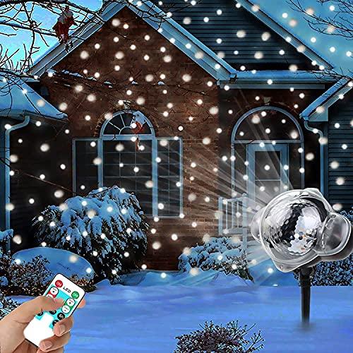 Proyector de luz navideña, EONYUANGUO Proyector de copo de nieve con control...