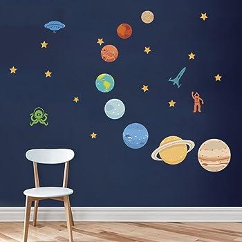 Creatiees Resplandor en el Planetas Oscuro Pegatinas Decoraci/ón de la Pared Pegatinas de Pared Luminosos 9 Planetas Pegatina Luminosa 3D Etiqueta Engomada para Habitaci/ón Infantil
