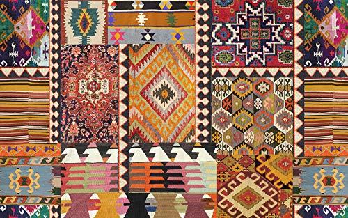 Vilber, Bohemian Kilim, Tappeto, Multicolore (Rosso/Nero/Blu), 75 x 120 x 3 cm