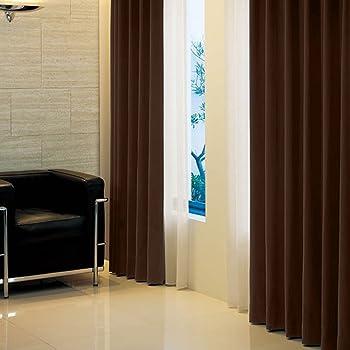 窓美人 アラカルト 1級遮光カーテン ビターチョコレート 幅100×丈90cm 2枚組 フック タッセル 断熱 省エネ 高級感のある生地