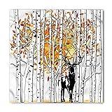Deer Bandana, Deer in Forest Autumn Colors Trees Foliage Wilderness Seasonal Artwork, Printed Unisex Bandana Head and Neck Tie Scarf Headband, Orange Green and White