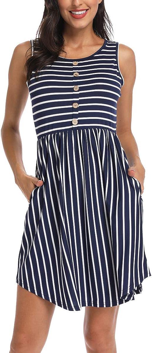 INWECH Women's Casual Sleeveless Front Store Complete Free Shipping Mini Button Dress T-Shirt