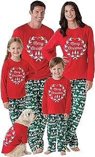 Navidad Mamá Papá Familia Pijamas Camisa Pantalones Conjuntos Traje Madre Estampado navideño Camisa de Manga Larga pantalón Traje 2Pcs Ropa