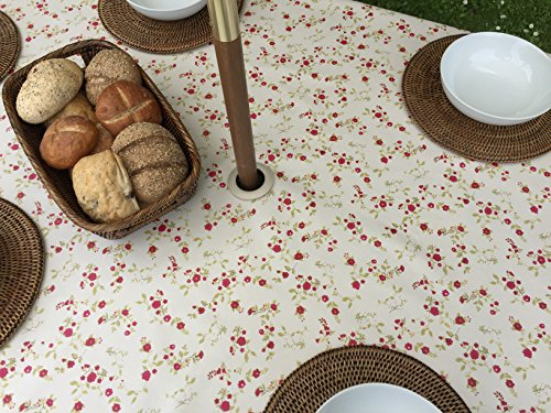 139,7 x 299,7 cm rectangle Nappe PVC/vinyle – Cottage Fleur Rouge avec trou de parasol