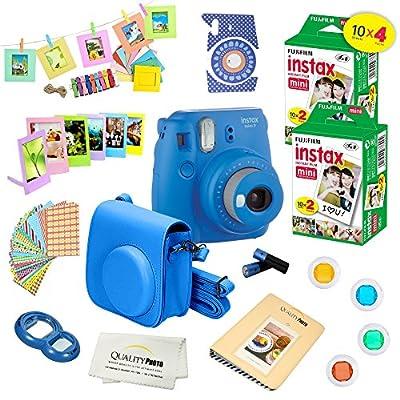 Fujifilm Instax Mini 9 Camera + Fuji INSTAX Instant Film (40 Sheets) + 14 PC Instax Accessories kit Bundle, Includes; Instax Case + Album + Frames & Stickers + Lens Filters + More from FUJIFILM