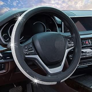 Steering Wheel Cover for Women, Bling Crystal Diamond Rhinestone Leather Car Steering Wheel Cover for New Girl Universal 15 inch