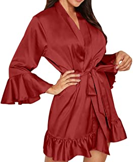 Women Pajama Set Robe, Ladies Solid Long Sleeve Lingerie Nightwear Underwear Nightrobe with Belt