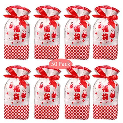 Formemory 50枚 ラッピング 袋 ギフトバッグ 巾着袋 リボン付 かわいい クリスマス プレゼント用 贈り物 包装袋 23*15cm