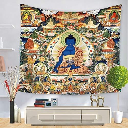Tapiz De Pared, Azul Buda Sentado,Hindú Bohemia Hippie Gótico Psicodélica Trippy Etnia Grande Rectangular Tela Impresas Moderno Resumen Art Home Pared Decoración De Salón Dormitorio,150X200 Cm.