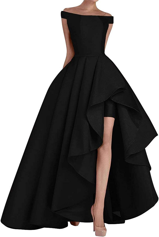 Falydal Women's A Line Prom Dress Off The Shoulder High Low Long Formal Dress