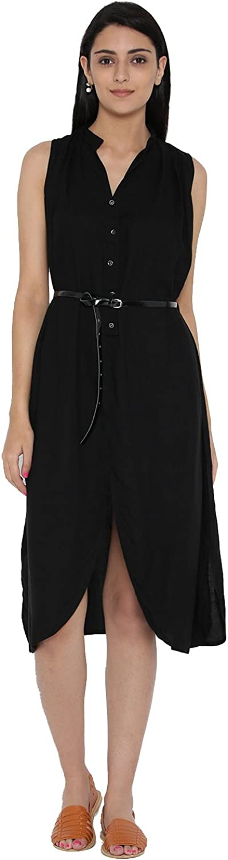 Desi Fusion Women Solid Pattern Dress (Black)