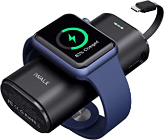 iWALK Apple Watch 充電 モバイルバッテリー 9000mAh大容量 Lightningケーブル内蔵 Apple Watch/iPhone同時充電対応可能 急速充電 Apple Watch Series SE/6/5/4/3/2/...
